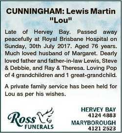 "CUNNINGHAM: Lewis Martin ""Lou"" Late of Hervey Bay. Passed away peacefully at Royal Brisban..."