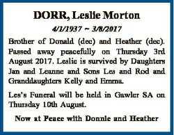 DORR, Leslie Morton 4/1/1937  3/8/2017 Brother of Donald (dec) and Heather (dec). Passed away peacef...