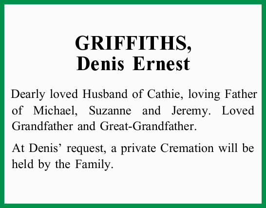 Dearly loved Husband of Cathie, loving Father of Michael, Suzanne and Jeremy. Loved Grandfather a...