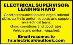 Good communication and organizational skills, ability to perform quotes and support an electrical...