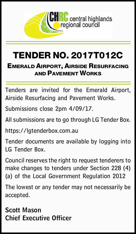 TENDER NO. 2017T012C Emerald Airport, Airside Resurfacing and Pavement Works Tenders are invited...
