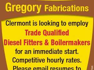 Gregory Fabrications Clermont is looking to employ for an immediate start. Competitive hourly rates. Please email resumes to hr@gregoryfab.com.au 6650364aa Trade Qualified Diesel Fitters & Boilermakers