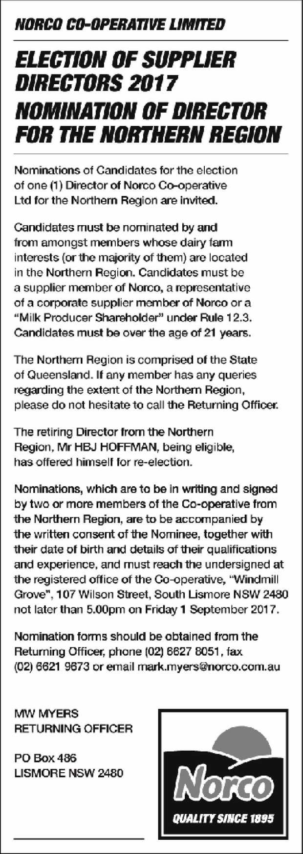 NORCO CO-OPERATIVE LIMITED ELECTION OF SUPPLIER DIRECTORS 2017 NOMINATION OF DIRECTOR FOR THE NOR...