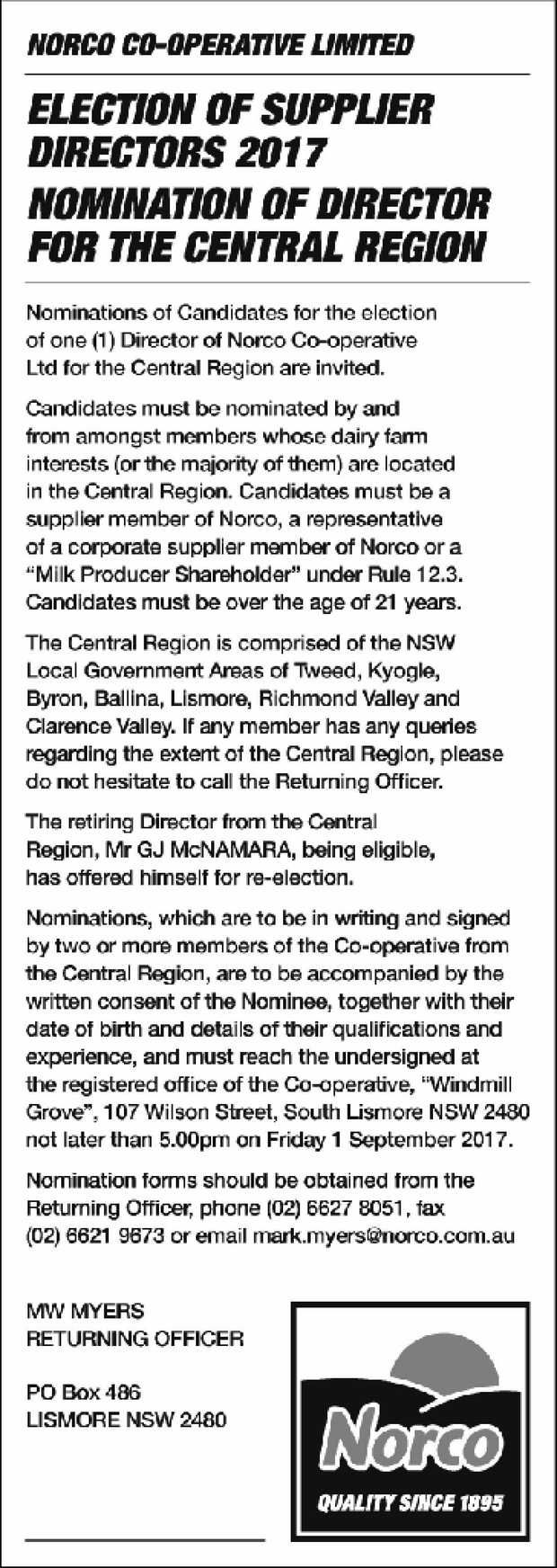 NORCO CO-OPERATIVE LIMITED ELECTION OF SUPPLIER DIRECTORS 2017 NOMINATION OF DIRECTOR FOR THE CEN...