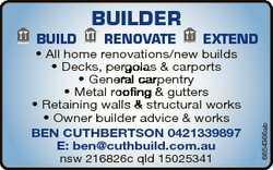 BUILDER RENOVATE EXTEND * All home renovations/new builds * Decks, pergolas & carports * General...