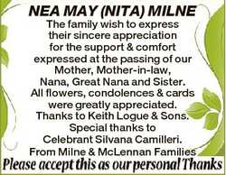 NEA MAY (NITA) MILNE The family wish to express their sincere appreciation for the support & com...