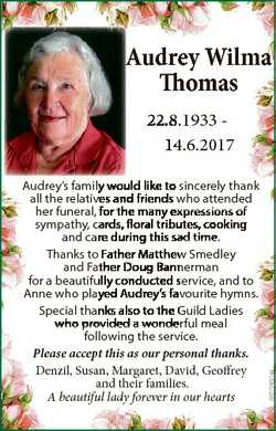 Audrey ey W Wilmaa Thomas Th Audrey's family would like to sincerely thank all the relativves an...