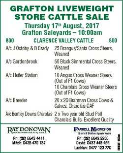 GRAFTON LIVEWEIGHT STORE CATTLE SALE Thursday 17th August, 2017 Grafton Saleyards - 10:00am Ph: (02)...