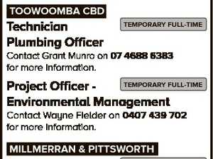 JOBS AT council Toowoomba Regional Council administers a diverse range of community services to a region rich in resources and opportunities. Sympathetic to the work life balance, Council offers stable and expanding employment options to its approximately 1800 employees. TOOWOOMBA CBD Technician Plumbing Officer TEMPORARY FULL-TIME Contact Grant Munro on ...