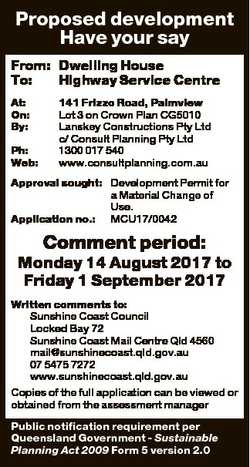 Proposed development Have your say From: Dwelling House To: Highway Service Centre At: On: By: Ph: W...