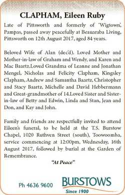CLAPHAM, Eileen Ruby Late of Pittsworth and formerly of `Wigtown', Pampas, passed away peacefull...