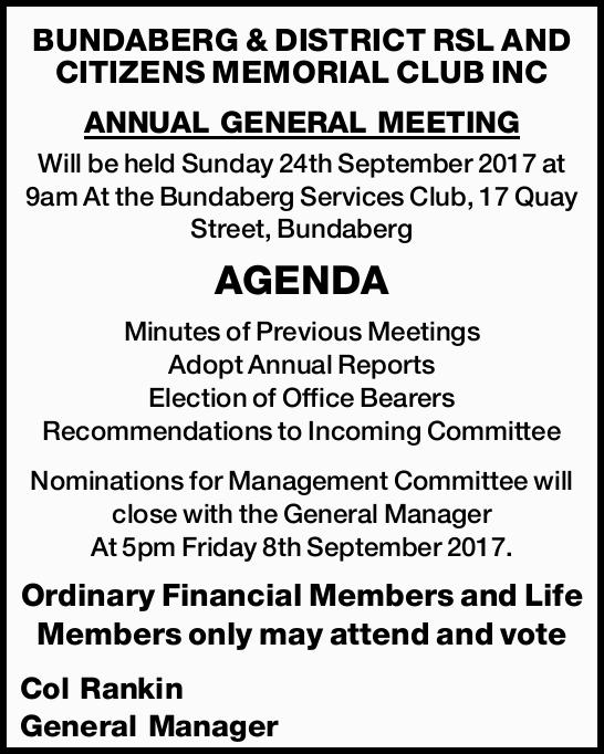 Will be held Sunday 24th September 2017 at 9am At the Bundaberg Services Club, 17 Quay Street, Bu...