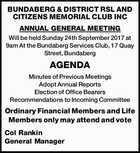 BUNDABERG & DISTRICT RSL AND CITIZENS MEMORIAL CLUB INC ANNUAL GENERAL MEETING