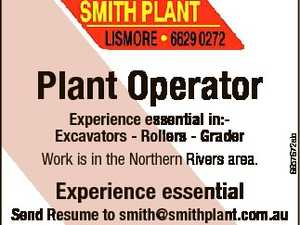 Experience essential in:Excavators - Rollers - Grader Work is in the Northern Rivers area. Experience essential 6657672ab Plant Operator Send Resume to smith@smithplant.com.au Phone 0412 885 332