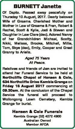 BURNETT Janette Of Dapto. Passed away peacefully on Thursday 10 August, 2017. Dearly beloved Wife of...