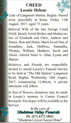 CREED Leonie Helene Late of Langmorn Station, Raglan. Passed away peacefully at home, Friday 11th Au...