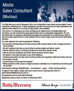 Media Sales Consultant (Mackay) 6659793aa The Daily Mercury is part of Newscorp. We're one of Au...