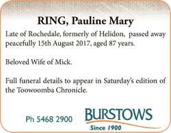 RING, Pauline Mary   Late of Rochedale, formerly of Helidon, passed away peacefu...