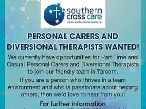 Personal Carers and diversional TheraPisTs WanTed! For further information please contact 07 4628 6166 or visit https://careers.sccqld.com.au 6651842aa We currently have opportunities for Part Time and Casual Personal Carers and Diversional Therapists to join our friendly team in Taroom. If you are a person who thrives ...