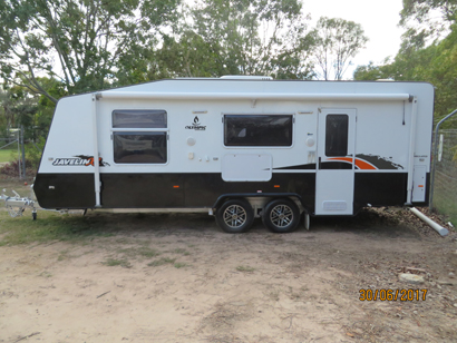 OLYMPIC 2015 Javelin, 24', reg 11/15, 20 mths old, as new, small kms, rev cyc A/C, Q/bed, e...
