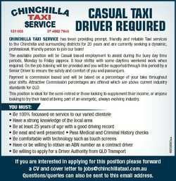 CASUAL TAXI DRIVER REQUIRED You must: * Be 100% focussed on service to our varied clientele * Have a...