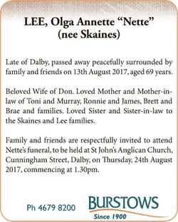 "LEE, Olga Annette ""Nette""   (nee Skaines)   Late of Dalby, passed..."