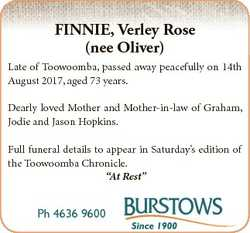 FINNIE, Verley Rose (nee Oliver) Late of Toowoomba, passed away peacefully on 14th August 2017, aged...