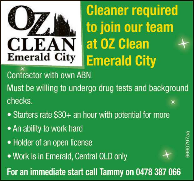 Cleaner required to join our team at OZ Clean Emerald City