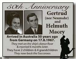 50th Anniversary Gertrud (nee Neumahr) and Helmuth Maceyy Arrived in Australia 50 years ag go from G...
