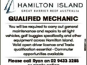 You will be required to carry out general maintenance and repairs to all light vehicles, golf buggies specifically, and other equipment across Hamilton Island. Valid open driver licence and Trade qualification essential - Commuter opportunities available Please call Ryan on 02 9433 3285 or apply online www.hamiltonisland.com.au/careers ...