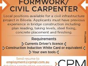 Formwork/ Civil Carpenter requirements Currents Driver's licence Construction induction white Card or equivalent Your own tools Send resume to employment@cpmpl.com.au detailing construction experience and at least 2 work referees and their contact numbers. 6656011aa 1 Local positions available for a civil infrastructure project in Biloela. Applicants ...