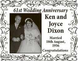 61st Wedding Anniversary Married 18th August, 1956 Congratulations 6660299aa Ken and Joyce Dixon