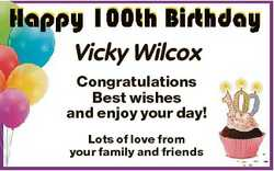 Vicky Wilcox Congratulations Best wishes and enjoy your day! Lots of love from your family and frien...
