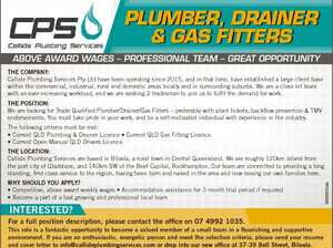 PLUMBER, DRAINER & GAS FITTERS Above AwArd wAges - ProfessionAl TeAm - greAT oPPorTuniTy The Company: Callide Plumbing Services Pty Ltd have been operating since 2015, and in that time, have established a large client base within the commercial, industrial, rural and domestic areas locally and in surrounding suburbs. We are a close ...