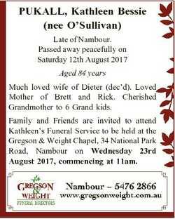 PUKALL, Kathleen Bessie (nee O'Sullivan) Late of Nambour. Passed away peacefully on Saturday 12t...