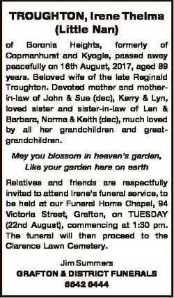 TROUGHTON, Irene Thelma (Little Nan) of Boronia Heights, formerly of Copmanhurst and Kyogle, passed...