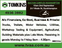 AUCTION COMPLEX ROCKHAMPTON 10am 2nd September 217 Wade St, Rockhampton 4936 3882 A/c Financiers, Ex...