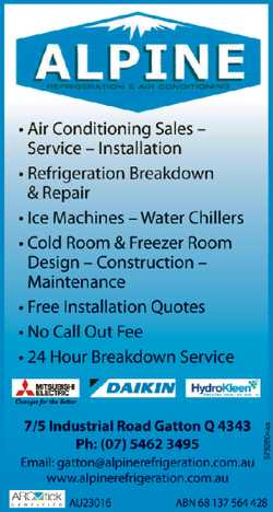 ALPINE REFRIGERATION & AIR CONDITIONING *Air Conditioning Sales - Service - Installation *Ref...
