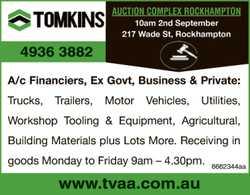 Trucks, Trailers, Motor Vehicles, Utilities, Workshop Tooling & Equipment.   Monday to Fr...