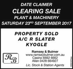 Clearing Sale   Plant & Machinery   Saturday 23rd September 2017