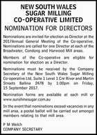 NEW SOUTH WALES SUGAR MILLING CO-OPERATIVE LIMITED NOMINATION FOR DIRECTORS