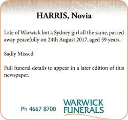 HARRIS, Novia   Late of Warwick but a Sydney girl all the same, passed away peac...