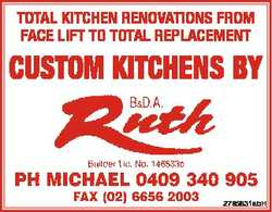 TOTAL KITCHEN RENOVATIONS FROM FACE LIFT TO TOTAL REPLACEMENT CUSTOM KITCHENS BY B & D.A. R...
