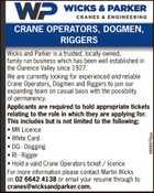 CRANE OPERATORS, DOGMEN, RIGGERS