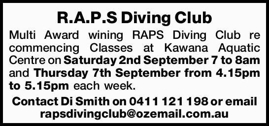 R.A.P.S Diving Club Multi Award wining RAPS Diving Club re commencing Classes at Kawana Aquatic C...
