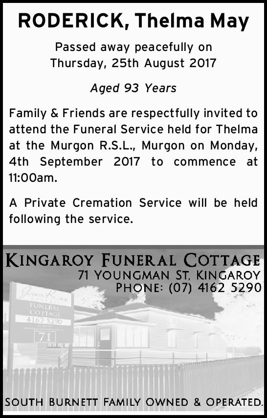 RODERICK, Thelma May