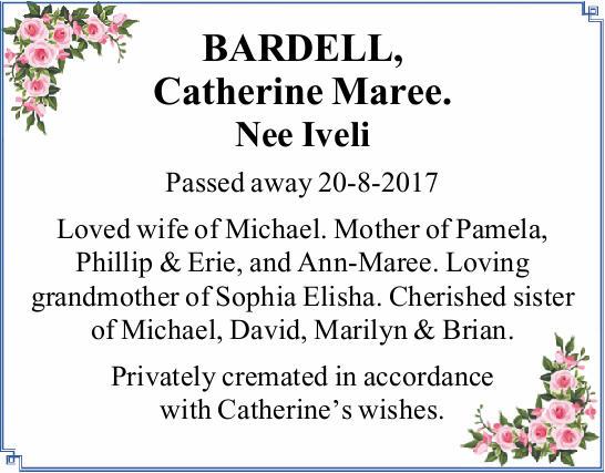 Nee Iveli   Passed away 20-8-2017   Loved wife of Michael. Mother of Pamela, Phillip &amp...