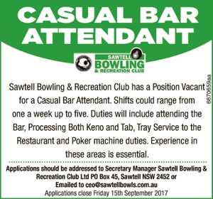 Casual Bar Attendant