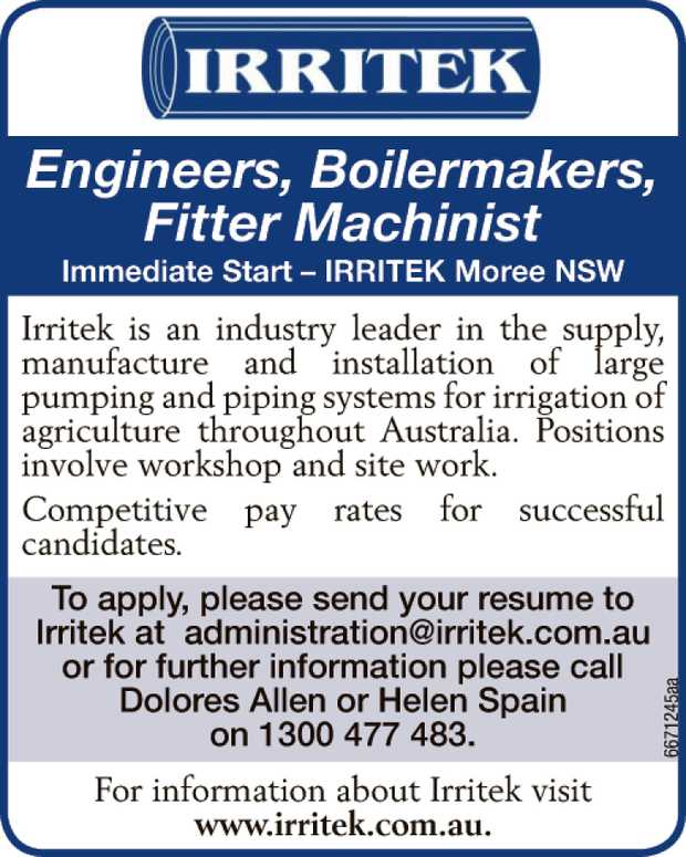 Engineers, Boilermakers, Fitter Machinist 