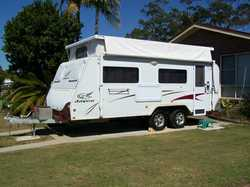 JAYCO Stirling Poptop, alum framed, 18ft, 07, tandem axle. Invintry 69 items, van new cond. Holid...